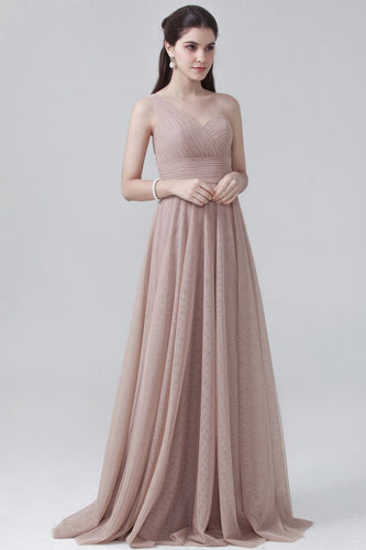 Single-Shoulder Empire Chiffon A-Line Ruched Bridesmaid Dress