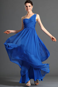 Single-Shoulder Empire Column Ruched Chiffon Long Dress