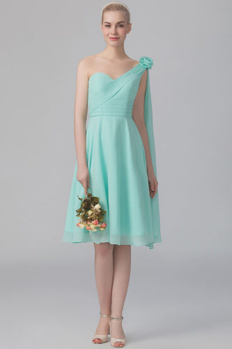 Single-Shoulder Fit-And-Flare Open-Back Streamer Bridesmaid Dress