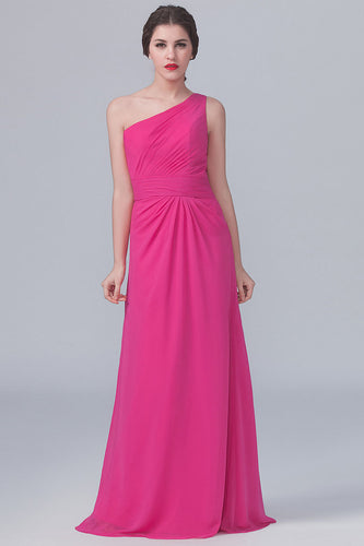 Single-Shoulder Hot Pink Empire A-Line Bridesmaid Dress