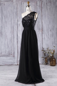 Single-Shoulder Lace Illusion A-Line Bridesmaid Dress In Black