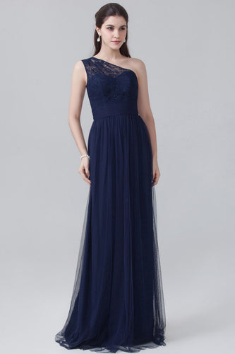 Single-Shoulder Lace Tulle Dark Navy Lace Tulle Bridesmaid Dress