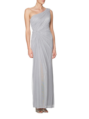 Single-Shoulder Ruched Empire Open-Back Side-Slit Bridesmaid Dress