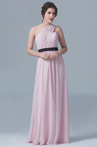 Single-Shoulder Ruched Pink Empire Floor-Length Chiffon Bridesmaid Dress