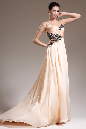 Single-Shoulder Surplice Empire Long Dress With Sweep Train And Appliques