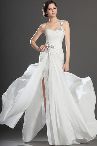 Single-Shoulder White Ruched Chiffon Dress With Rhinestones