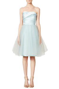 Sky Blue Strapless Pleated Sweetheart Neckline Knee Length Tulle Bridesmaid Dress