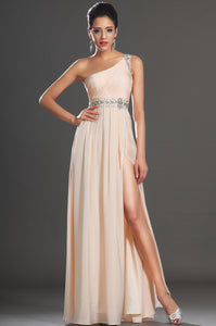 Sleek Single-Shoulder Beaded Column Chiffon Long Dress