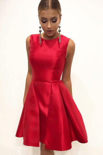 Sleeveless Red Short Jersey Fit-And-Flare Knee-Length Dress