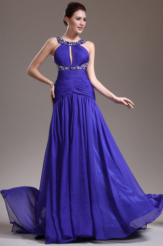 Sleeveless Ruched Fit-And-Flare Beaded Floor-Length Long Dress