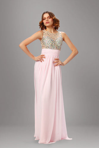Soft Pink Chiffon Empire Long Dress With A Sheer-Illusion Sleeveless Beaded Top