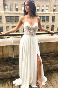 Spaghetti Strap Lace-Up Back Split Chiffon Bridal Dress With Beaded Lace Bodice