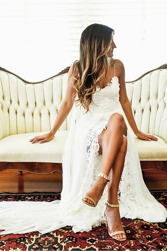 Spaghetti Strap Open Back Lace Beach Wedding Dress With Slit