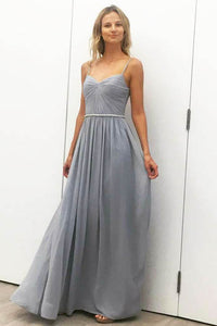 Spaghetti Strap Pleated V Neckline Floor Length Bridesmaid Dress With Beaded Belt