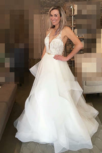 Spaghetti Strap Plunging V-Neck Organza Bridal Dress With Lace Bodice