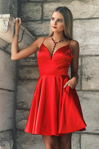 Spaghetti Straps Sleeveless Short Solid Red A-Line Satin Cocktail Dress with Pockets