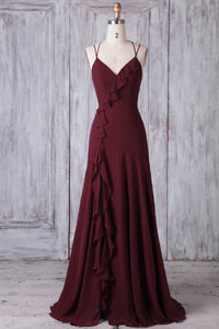Spaghetti Strap V-Neck Burgundy Chiffon Floor-Length Bridesmaid Dress With Ruffles