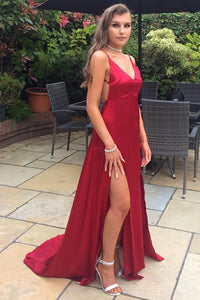 Spaghetti Straps Sleeveless Backless Long Solid Slit Sheath Satin Prom Dress with Sweep Train