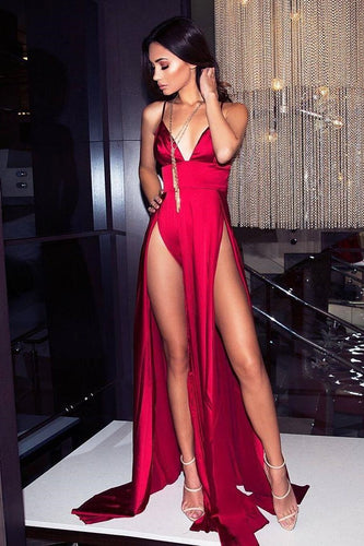 Spaghetti Straps Sleeveless Zipper-Up Long Solid Sheath Prom Dress with Sexy High Slits