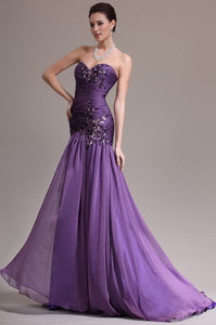 Spellbinding Sweetheart Sequined Ruched Fit-And-Flare Long Dress