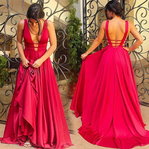 Statement Satin A-Line Cut-Outs Easy-Moving Long Dress