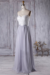 Strapless A-Line Bridesmaid Dress With Lace Bodice And Chiffon Skirt