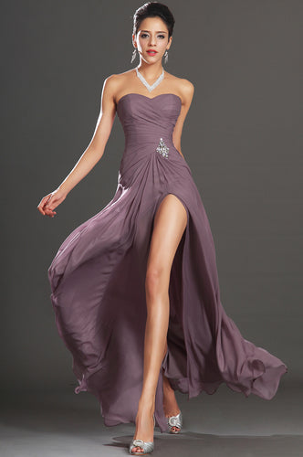 Strapless Dusty Purple A-Line Long Dress With Rhinestones And A Side Slit