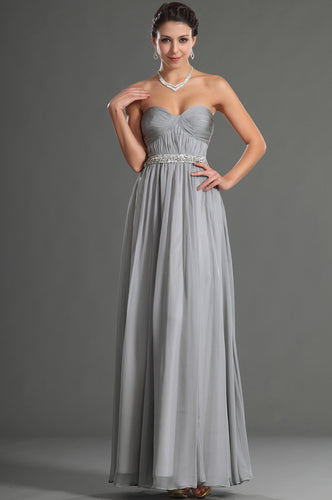 Strapless Gray Ruched Empire Chiffon Long Dress With A Beaded Belt