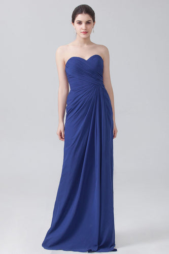 Strapless Ruched Empire Column Floor-Length Bridesmaid Dress