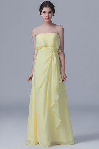 Strapless Ruffled Ruched Overlay A-Line Yellow Bridesmaid Dress