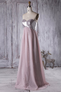 Strapless Sweetheart Bridesmaid Dress With Sequined Bodice