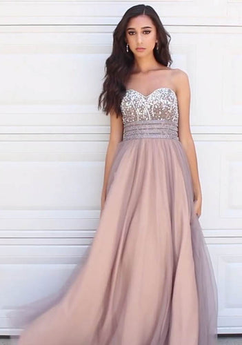Strapless Sweetheart Empire Beaded Lace-Up A-Line Tulle Long Dress