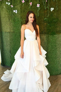 Strapless Sweetheart Empire Ruffled Wedding Gown With A Sweet Look
