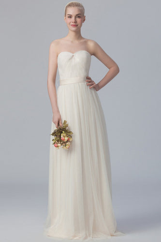 Strapless Sweetheart Empire Tulle Column Bridesmaid Dress