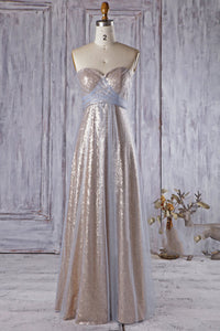 Strapless Sweetheart Fully Sequined Column Tulle Bridesmaid Dress In Gold