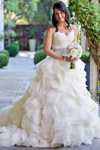 Strapless Sweetheart Neckline Ruffle Tiered Bridal Dress With Sweep Train