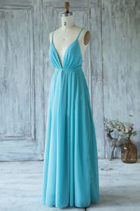 Strapped Deep V-Neck Sexy Open-Back A-Line Bridesmaid Dress