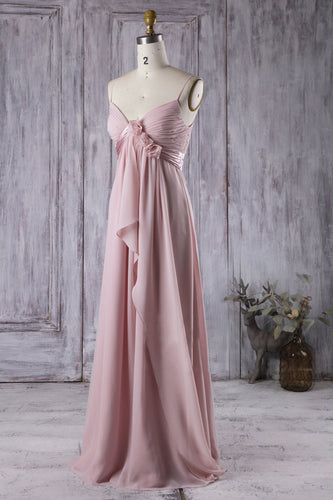 strapped-empire-rosettes-ruffles-floor-length-bridesmaid-dress