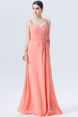 Strapped Surplice Sweetheart Ruched A-Line Bridesmaid Dress