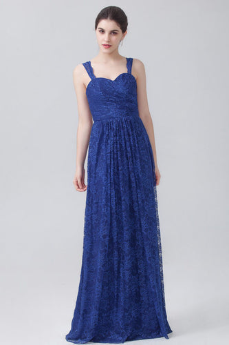 Strapped Sweetheart Empire Lace Blue Bridesmaid Dress