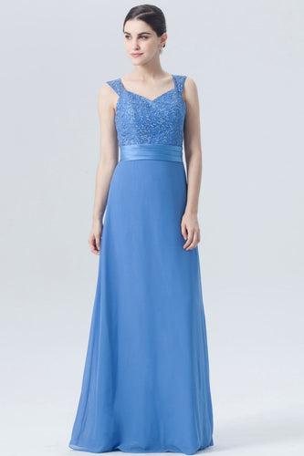 Strapped V-Neck Embroidered A-Line Blue Bridesmaid Dress With Sash
