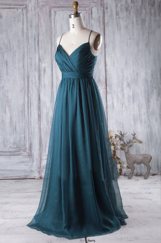 Strapped V-Neck Surplice Empire A-Line Chiffon Bridesmaid Dress