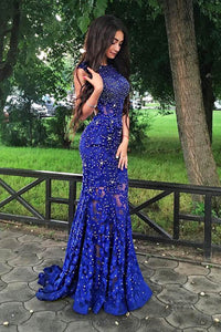 Stunning Beaded Royal Blue Jewel Neckline Open Back Mermaid Evening Prom Dress
