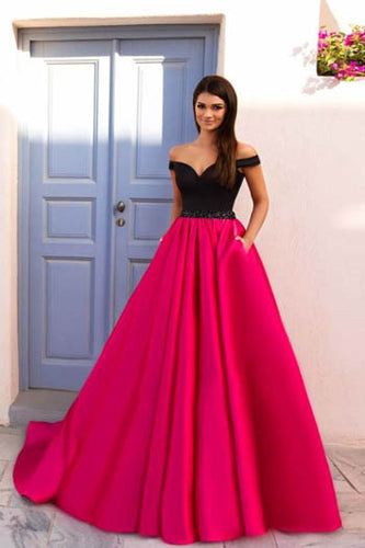 Stunning Black And Fuchsia Off-The-Shoulder Deep V Neckline Floor Length Prom Dress