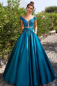 Stunning Blue Appliqued Cap Sleeve Sheer Illusion Neckline Open Back Evening Prom Dress