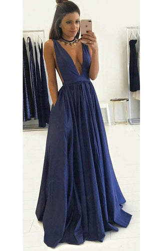 Stunning Dark Blue Plunging V Neckline A-Line Floor Length Evening Prom Dress