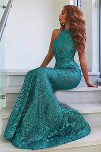 Stunning Fitted Jade Halter Neckline Mermaid Evening Dress with Open Back