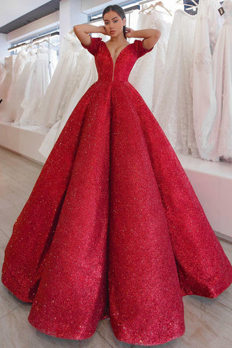 Stunning Red Box-Pleated V-Neck Short-Sleeved Ball-Gown Long Dress