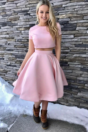 Stunning Satin Short Sleeve Jewel Neck A-Line Two-Piece Cocktail Dress