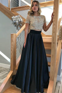 Stunning Silver And Black Beaded Jewel Neckline Two Piece A-Line Prom Dress